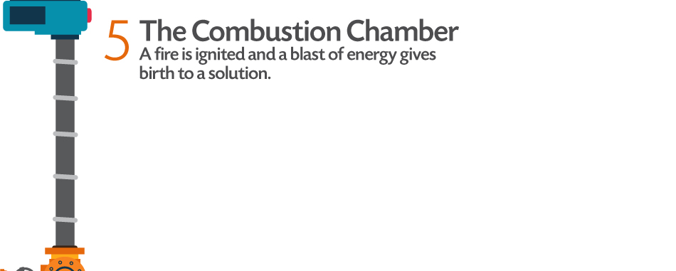 The Combustion Chamber: A fire is ignited and a blast of energy gives birth to a solution.